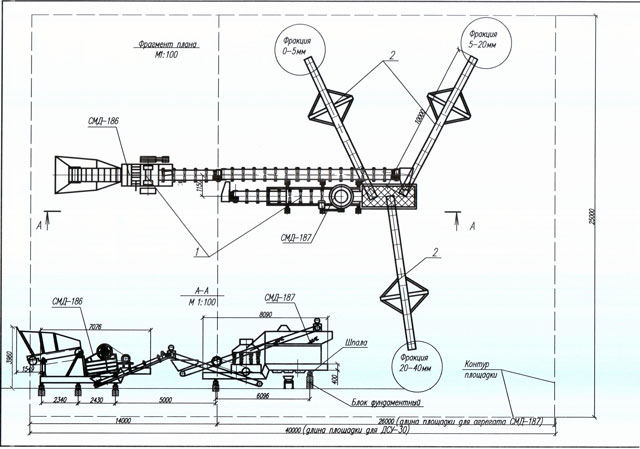 Чертеж дробильно-сортировочной установки ДСУ-30